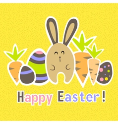 Easter colorful yellow card template vector image vector image