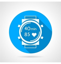 Fitness watch flat round icon vector