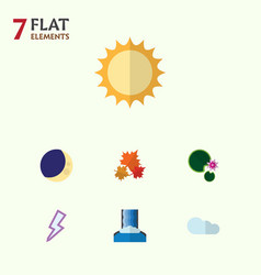 Flat icon ecology set of canadian lotus solar vector