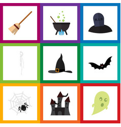 flat icon festival set of witch cap spinner vector image vector image