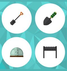 Flat icon garden set of barbecue spade trowel vector