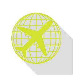 Globe and plane travel sign pear icon with flat vector