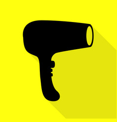Hair dryer sign black icon with flat style shadow vector
