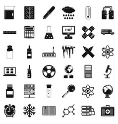 Laboratory icons set simple style vector