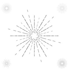 linear drawing of vintage sunbursts or light rays vector image