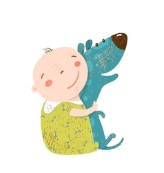 Little kid hugs dog best happy friends vector