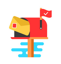mail box with letter flat cartoon vector image