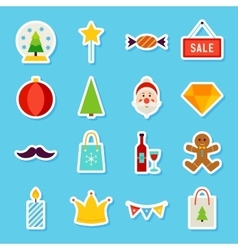 Merry christmas stickers vector