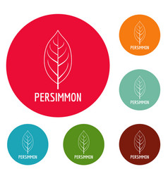Persimmon leaf icons circle set vector