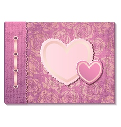 Photo album with hearts vector image