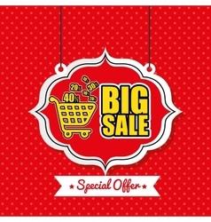 Poster big sale shop cart vintage red polka dot vector