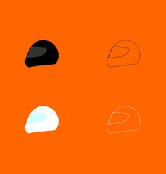racing helmet black and white set icon vector image