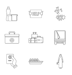 Refugees icons set outline style vector