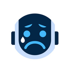 Robot face icon sad face crying emotion robotic vector