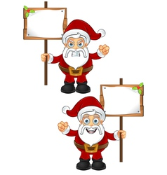 Santa Claus Holding Wooden Sign vector image vector image