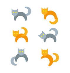 Set of cartoon cats in different poses vector