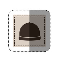Sticker monochrome square with cloche icon food vector