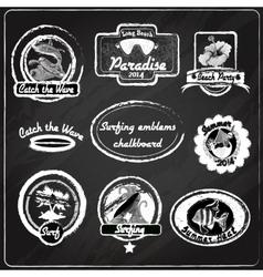 Surfing emblems chalkboard vector