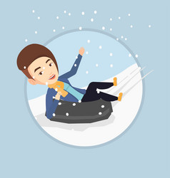woman sledding on snow rubber tube in mountains vector image vector image