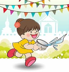 Young asian girl playing songkran festival vector