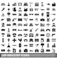 100 industry icons set simple style vector