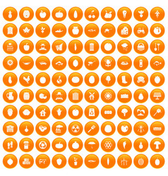 100 vitamins icons set orange vector