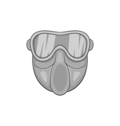 Paintball mask icon black monochrome style vector