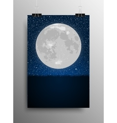 Vertical poster grass moon star night sky vector