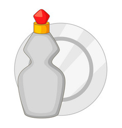 Dishwashing liquid bottle and plate icon vector