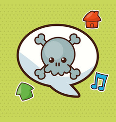 kawaii bubble speech social vector image