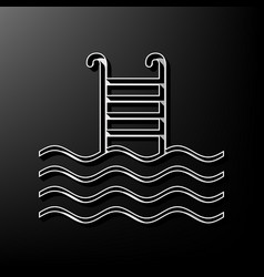 Swimming pool sign  gray 3d printed icon vector