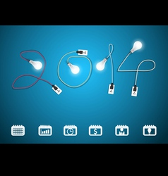 2014 new year with light bulb idea vector image vector image