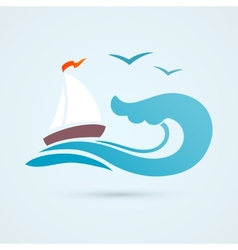Sail ship wave icon vector