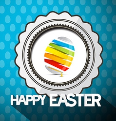 Blue happy easter with abstract colorful egg vector