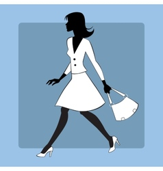 Silhouette icon modern young woman goes vector