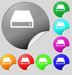 Cd-rom icon sign set of eight multi-colored round vector