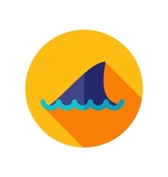 Shark fin flat icon with long shadow vector