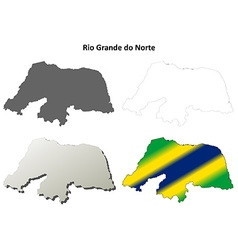 Rio grande do norte blank outline map set vector