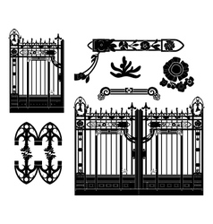 Wrought iron gate and decoration vector