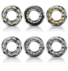 Metal roller bearings vector