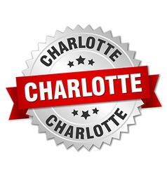 Charlotte round silver badge with red ribbon vector
