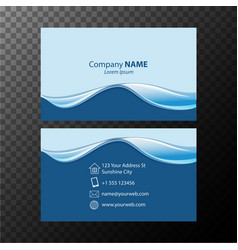 Businesscard template with blue wavy lines vector