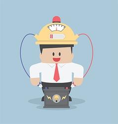 Businessman charging his idea power vector image