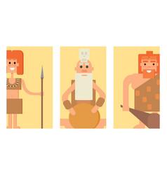 caveman primitive stone age cards cartoon vector image vector image