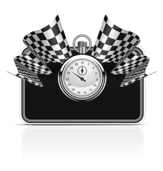checkered flag with a stopwatch background vector image