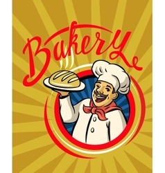 Chef with hat and hot bread vector