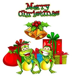Christmas card template with frogs and presents vector