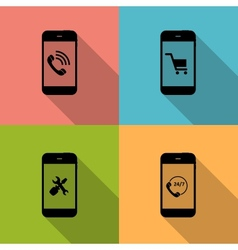 Concept on Different Mobile Phote Icons vector image vector image