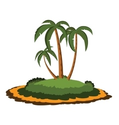 Desert island with palm trees vector