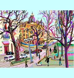 Digital plein air painting of kiev street vector